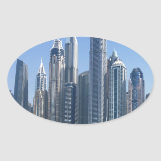 Dubai Sky Line Oval Sticker