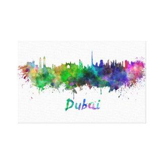 Dubai skyline in watercolor gallery wrap canvas