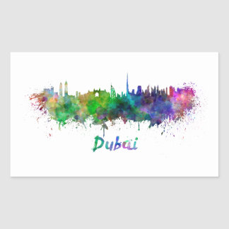 Dubai skyline in watercolor rectangular sticker