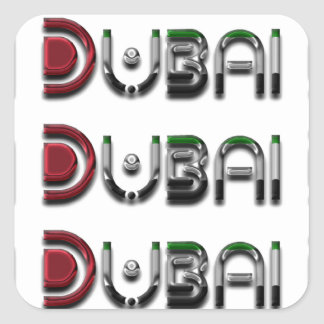 Dubai UAE Typography Elegant Text Only Square Sticker