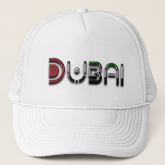 Dubai UAE Typography Elegant Text Only Trucker Hat