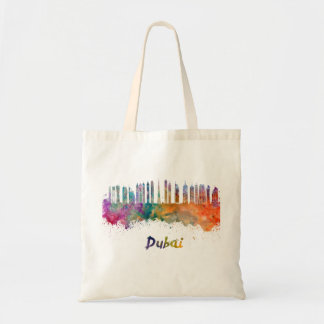 Dubai V2 skyline in watercolor Tote Bag