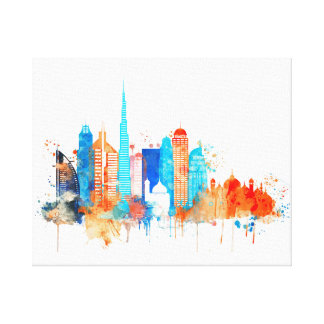 Dubai watercolor skyline canvas print