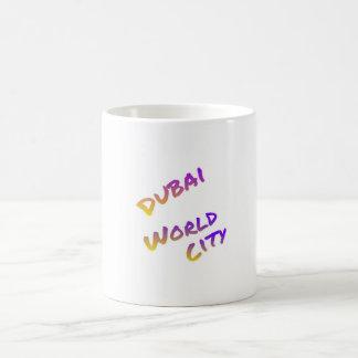 Dubai world city, colorful text art coffee mug