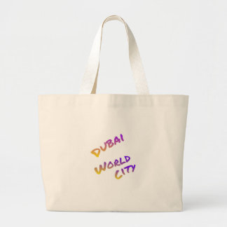 Dubai world city, colorful text art large tote bag