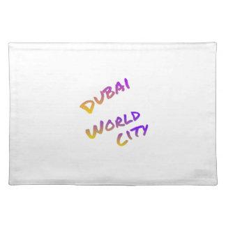 Dubai world city, colorful text art placemat