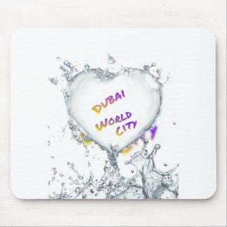 Dubai world city, Heart Water splash Mouse Pad