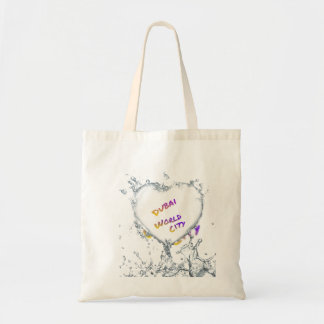 Dubai world city, Heart Water splash Tote Bag