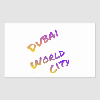 Dubai world city letter art color rectangular sticker