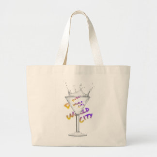 Dubai world city, water glass large tote bag