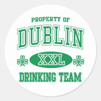Dublin Drinking Team Round Sticker