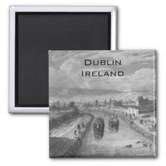 Dublin from Blaquiere Bridge, Royal Canal, Ireland Square Magnet