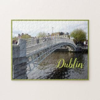 Dublin (Ha'penny Bridge) with text Jigsaw Puzzle