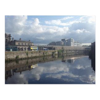 Dublin Riverbank Reflection Postcard