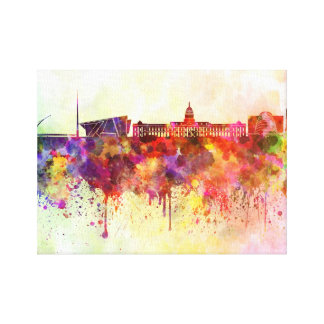 Dublin skyline in watercolor background canvas print