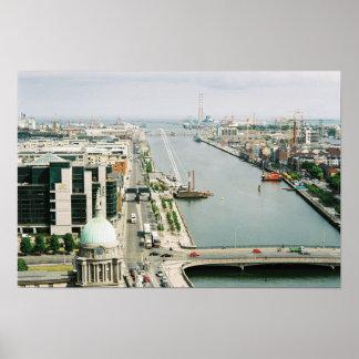 Dublin Skyline Ireland, River Liffey, IFSC Poster