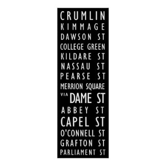 Dublin Vintage Transit Scroll Poster