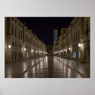 Dubrovnik Croatia at Night Poster