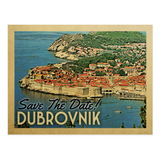Dubrovnik Save The Date Vintage Croatia Postcard