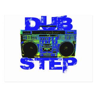 Dubstep Blue Boombox Postcard