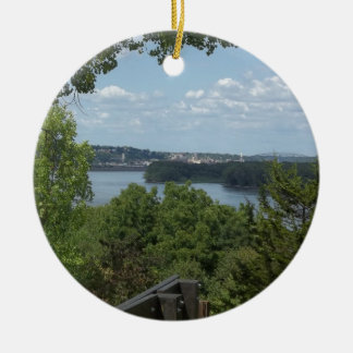 Dubuque Iowa from the Mississippi River Ceramic Ornament