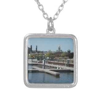 Dubuque, Iowa Ice Harbor, Mississippi River Silver Plated Necklace