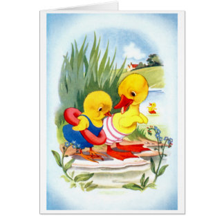 Duck and chick go swimming greeting card