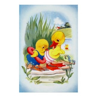 Duck and chick going swiming poster