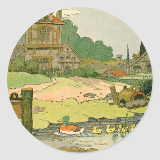 Duck and Ducklings Swimming on the River Classic Round Sticker