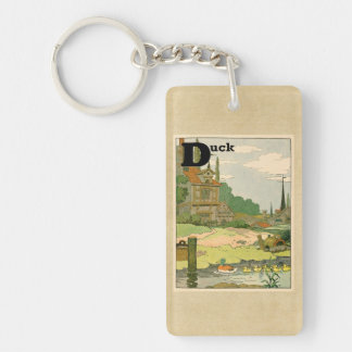 Duck and Ducklings Swimming on the River Double-Sided Rectangular Acrylic Key Ring