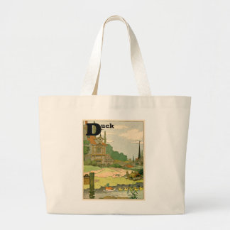 Duck and Ducklings Swimming on the River Jumbo Tote Bag