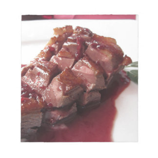 Duck breast on Sangiovese red wine sauce Notepad