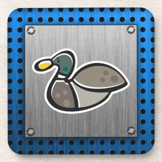 Duck; Brushed metal-look Drink Coaster