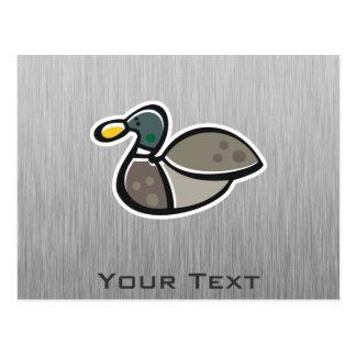 Duck; Brushed metal-look Postcard