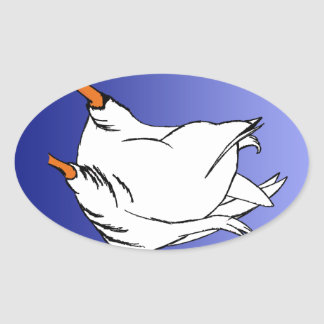 Duck Butt Postage Stamp Oval Sticker