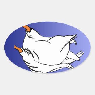 Duck Butt Postage Stamp Oval Sticker