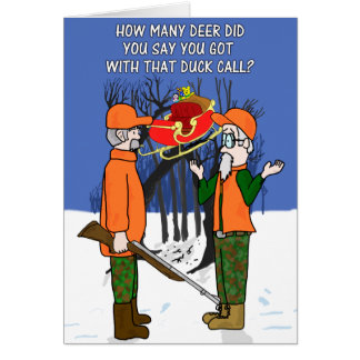 Duck Call Flying Deer Funny Hunter Hunting Card