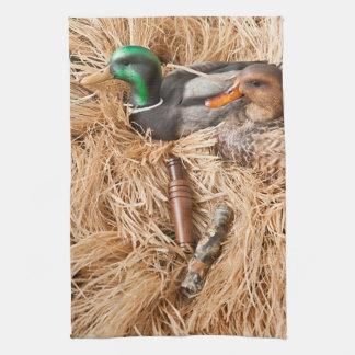Duck Call Mallard Drake Hunting Kitchen Dish Towel