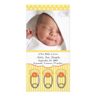 Duck Diaper Pins PHOTO Birth Announcement Card