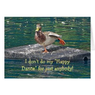 DUCK DOING HAPPY DANCE BIRTHDAY CARD