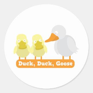 duck duck goose classic round sticker