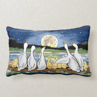 Duck & Duckling Family and Moon Designer Pillow