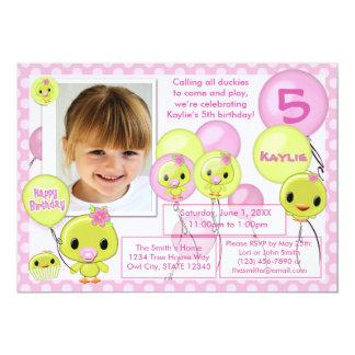 Duck Ducky birthday invitation pink yellow (photo)