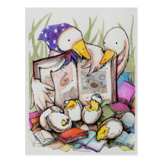 Duck family  loves to read Postcard