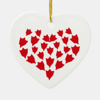Duck foot heart ceramic ornament