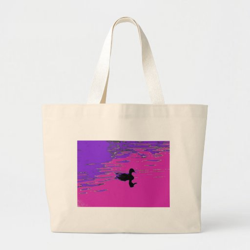 Duck in a pond canvas bag