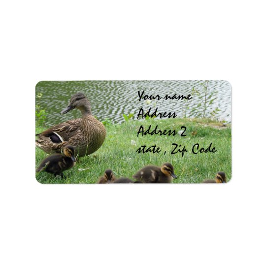 Duck mum and ducklings address label