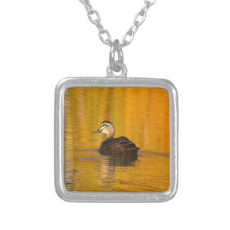 Duck on a golden pond silver plated necklace