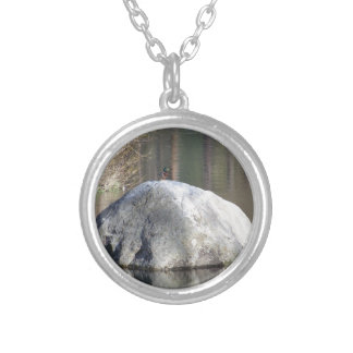 Duck on a Rock Round Pendant Necklace