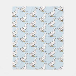 Duck Pattern Baby Blue Fleece Blanket